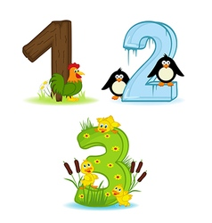 set of numbers with number of animals from 1 to 3 vector image