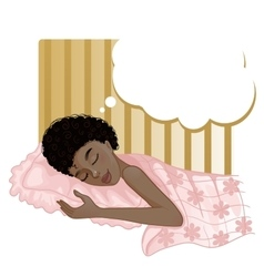 African american girl dreaming in the night vector