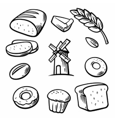 Bread grain wheat donut cake mill and cooking vector