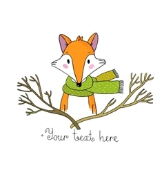 Portrait of a fox in a scarf and branches vector
