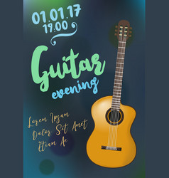 Acoustic guitar event design template for flyer vector
