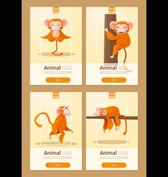 Animal banner with Monkeys for web design 2 vector image