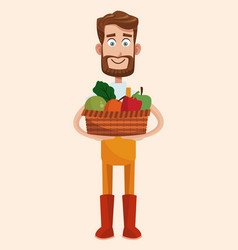 Bearded farmer with vegetable basket vector