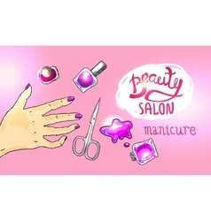 Beauty salon manicure vector