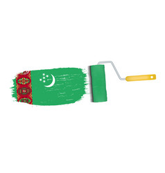 brush stroke with turkmenistan national flag vector image