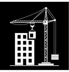 Building construction with crane vector