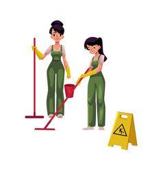 cleaning service girls charwomen in overalls vector image