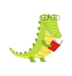 Crocodile smiling bookworm zoo character wearing vector