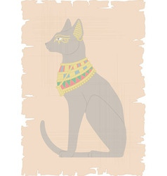 Egyptian cat on papyrus vector