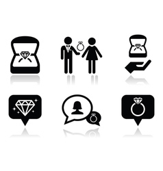 Engagement diamond ring in box icons set vector