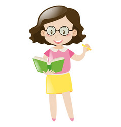 female teacher with book and marker vector image