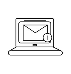 Figure computer with virtual folder message icon vector