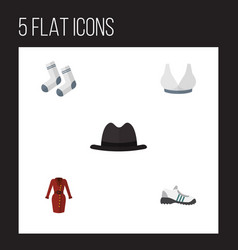 Flat icon dress set of foot textile brasserie vector