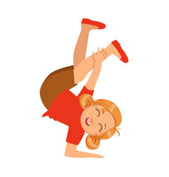 Girl holding on one hand upside down dancing vector