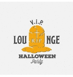 Lounge halloween party label template grave with vector