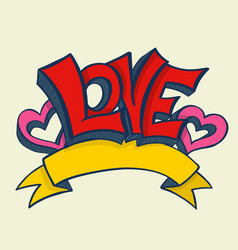 Love with hearts drawn vector