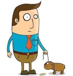 Man walking dog vector image vector image