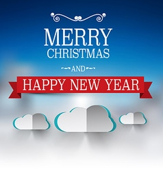 Merry christmas and happy new year text winter vector