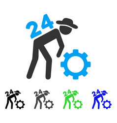 Nonstop working person flat icon vector