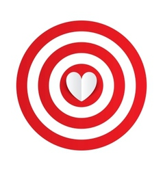 Paper heart in the center of darts target aim vector image vector image