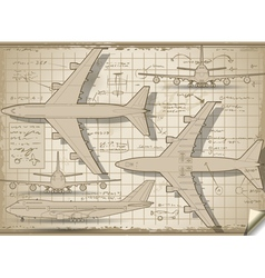 Plane project in five orthogonal views vector