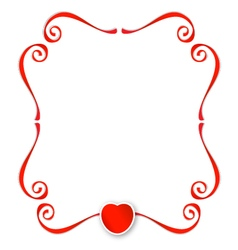 Red ribbons with heart background vector image vector image