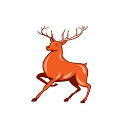 Red Stag Deer Side Marching Cartoon vector image