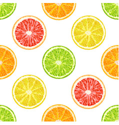 Seamless pattern from citrus slices orange vector