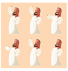 Set of muslim cartoon characters vector