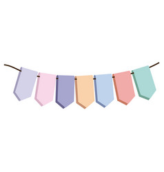 Set pastel palette decorative pennants for vector