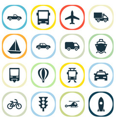 Shipment icons set collection of chopper cab vector