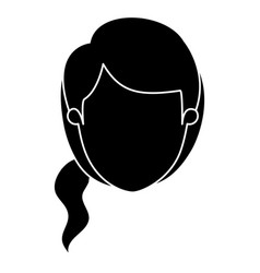 Silhouette black faceless front view woman with vector