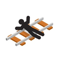 Suicide on a railway icon isometric 3d style vector