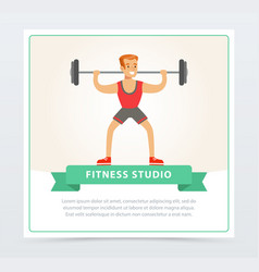 young man exercising with barbell fitness studio vector image vector image