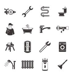 Plumbing Icon Set In Black vector image