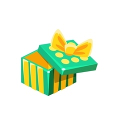 Green and yellow empty gift box without present vector