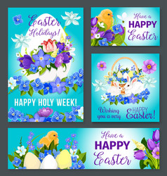 Easter greeting paschal banner poster card vector