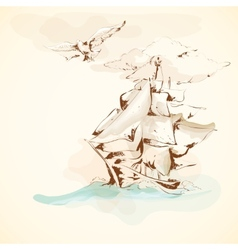 Sea adventures vintage sailboat poster vector