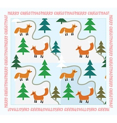 Vintage christmas card with foxes vector
