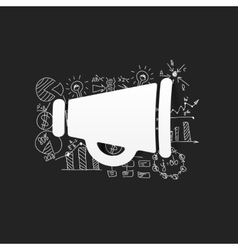 Drawing business formulas megaphone vector