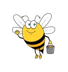 Cartoon flying bee with honey bucket waving hand vector image