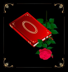 red book and rose vector image