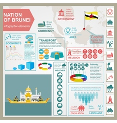 Nation of brunei infographics statistical data vector