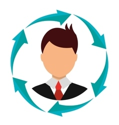 Business people profile with arrow icons vector