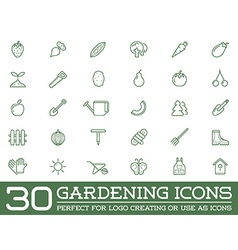 Set of garden and farm elements and fruits or vector