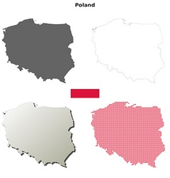 Poland outline map set vector