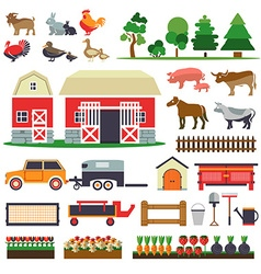 Set of elements for farm farm building animals vector