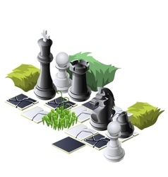 Chess pieces and plants decorative composition vector