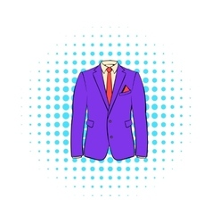 Men jacket with shirt icon comics style vector