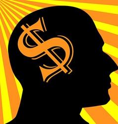 Man silhouette dollar symbol business concept vector